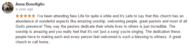 Anna Bonofiglio review of New Life Christian Church