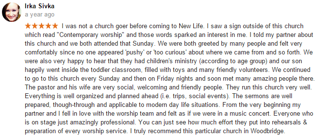 Irka Sivka review of New Life Christian Church