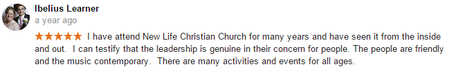 Ibelius Learner review of New Life Christian Church